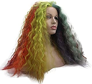 Melody Wig Multi-colored Body Wave Synthetic Lace Front Wigs Rainbow Curly Hairstyle Heat Resistant Fiber Hair for Women 24''