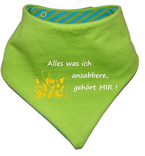 KLEINER FRATZ KLEINER FRATZ Kinder Wendehalstuch Uni/gestreift (Farbe Lime-royal) (Gr. 1 (0-74)) Alles was ich ansabbere gehoert Mir