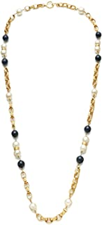 CHANEL White & Black Faux Pearl Necklace (Pre-Owned)