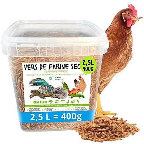 vers de Farine Séchés-400g=2500ml- Nourriture pour Poissons, Oiseaux Tortues, Hérissons, Rongeurs et Reptiles