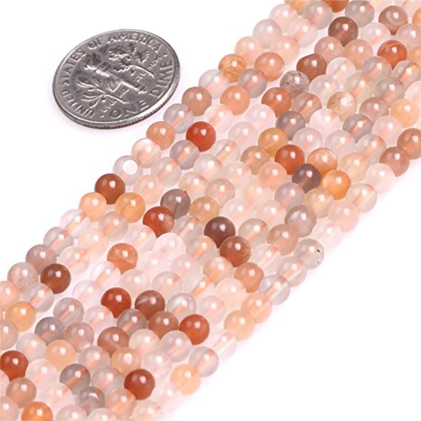 4mm Moon Stone Beads for Jewelry Making Natural Semi Precious Gemstone Round Mixed Color Strand 15