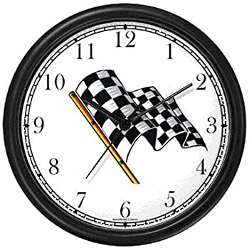 WatchBuddy Checker or Checkered Flag - Auto Racing Theme Wall Clock Timepieces  Black Frame