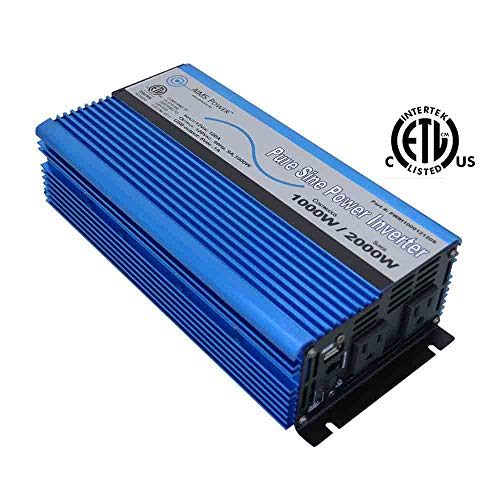 AIMS Power 1000 Watt, 2000 Watt Peak, Pure Sine DC to AC Power Inverter, USB Port, 2 Year Warranty, Optional Remote, Listed to UL 458