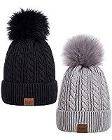 Alepo Womens Winter Beanie Hat, Warm Fleece Lined Knitted Soft Ski Cuff Cap with Pom Pom(Black+Soft Gray)