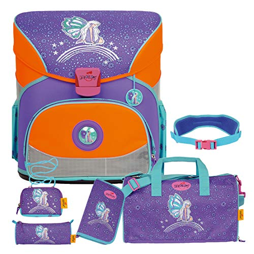 Rainbow Fairy - Elfe Fee - DerDieDas FLIEGENGEWICHT XS Schulranzen-Set 6tlg. mit Sporttasche