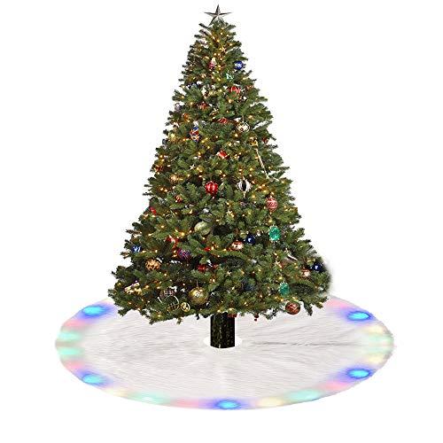 Ghopy Weihnachtsbaumdecke Weihnachtsdeko Weihnachtsbaum Schürze Weihnachtsbaum Rock Plüsch Christmasbaumdecke LED Bunt Elegante Dekoration (78cm)