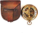 Brújula náutica antigua con botón de reloj solar, brújula de latón con funda de transporte de cuero, brújula náutica antigua para regalo, brújula de bolsillo, ideal para regalo, camping, senderismo.