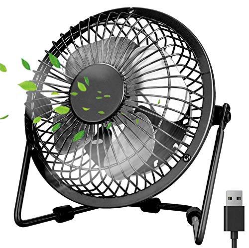 PEYOU Ventilador USB, Mini Ventilador Silencioso Portátil, Ventilador Mesa de Metal, Potente Ventilador de Refrigeración Ordenador, Ruido Bajo, para Portátil PC Hogar Oficina o Viaje - Negro