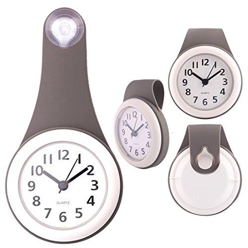 TXXCI Badezimmer wasserdicht Wanduhr Uhr Saugnäpfe Badezimmeruhr - Grau