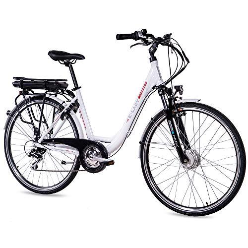 CHRISSON 28 Zoll E-Bike Trekking und City Bike für Damen - E-Lady weiß mit 8 Gang Acera Kettenschaltung - Pedelec Damen mit Ananda Vorderradmotor 250W, 36V