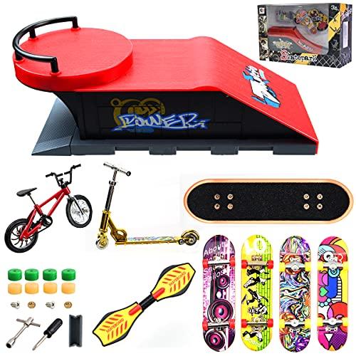 Kit de Parque de Patín Piezas Dedo Rampas Rails Skatepark Diapasones Pasamanos Mini Skareboard Accesorios Juegos Juguete (Estilo B)