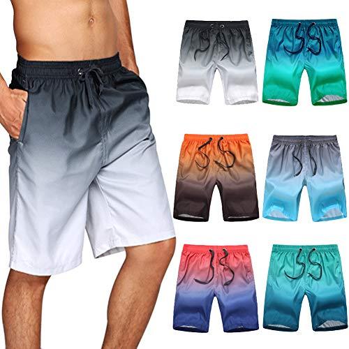 Civilever Bañador para Hombre, Pantalones Cortos de Playa de Color Degradado de Secado rápido, Casual, con Bolsillos y cordón Ajustable