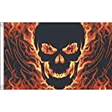 AZ FLAG Flagge Totenkopf MIT Feuer 150x90cm - Pirat Fahne 90 x 150 cm - flaggen Top Qualität