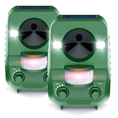 Anglink Ultrasonic Cat Repeller 2 Packs, Outdoor Animal Repellent with Motion Sensor and Flash Intimidation Raccoon Dog Squirrels and More