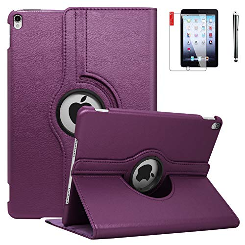 iPad Case 6th Generation with Screen Protector and Stylus - iPad 9.7 inch Air1 2018 2017 Case Cover - 360 Degree Rotating Stand, Auto Sleep Wake - A1822 A1823 (Dark Purple)