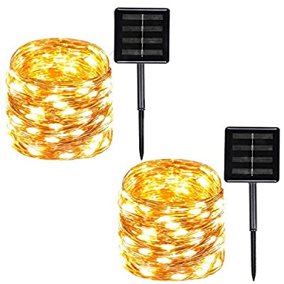 2-Pack Solar String Lights Outdoor , 100-LED 39ft Copper Wire Solar Fairy Lights Outdoor Waterproof with 8-Lighting Modes Solar Christmas Lights for Garden, Yard, Party, Wedding?Patio Decor