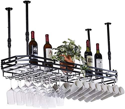 TUHFG Estantería de Vino Tenedor de Copa de Vino, Altura Ajustable Copa de Vino con lámpara Europeo Iron Art STEMWARET Rack para BARAS RESTAURANTES COCINAS, 80 × 35 cm (Color : 120×35cm)