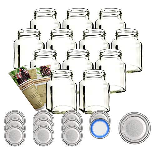 gouveo 12er Set Quadratglas 350 ml mit Verschluss Silber BlueSeal - Marmeladengläser, Vorratsgläser, Wurstgläser, Einmachgläser