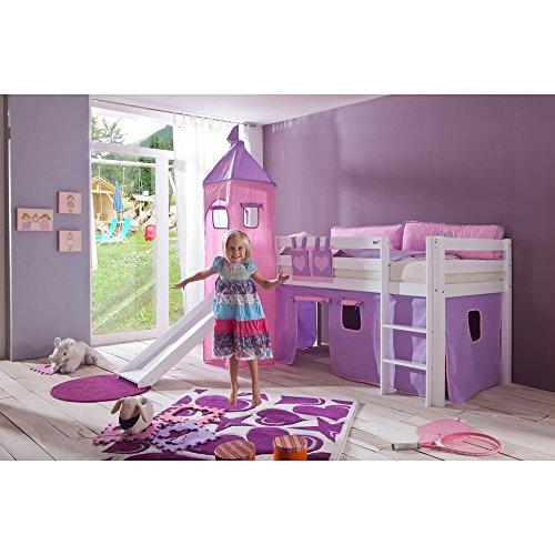 Relita BH1011117+TX5012039+TX5032039-M1 Halbhohes Spielbett Alex mit Rutsche/Turm, Maße 210 x 113 x 220 cm, Liegefläche 90 x 200 cm, Buche massiv weiß lackiert, Stoffset Purple/rosa