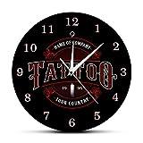 gongyu Tiempo de Tatuaje Reloj de Pared Personalizado Tienda de Tinta Tatuajes Pistola Artista Regalo Tienda de Arte Corporal Estudio de Tatuajes Logotipo Nombre de la Empresa Reloj de Pared Moderno