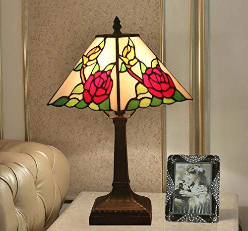 Grote tafellamp in Tiffany-stijl, vierkante tafel voor glazen ruiten, nachtlampje samen met de bedsokkel van zink, antiek, 30,5 cm (12 inch) voor salontafel in de woonkamer