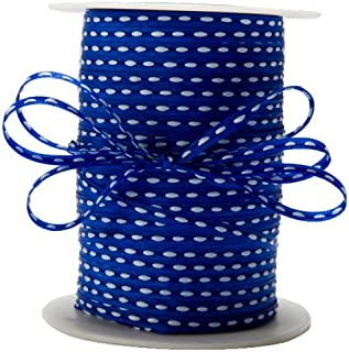 May Arts 3/16-Inch Wide Ribbon, Royal Blue with White Stitched Center