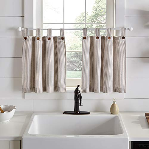 "Elrene Home Fashions Tucker Ticking Stripe Window Kitchen/Café and Bath Tier Set of 2, 30"" W x 36"" L, Linen"