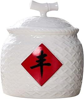 FANGFHOME Petit Seau De Riz Jingdezhen Cylindre De Riz en Céramique Domestique avec Couvercle Réservoir De Stockage De Vin...