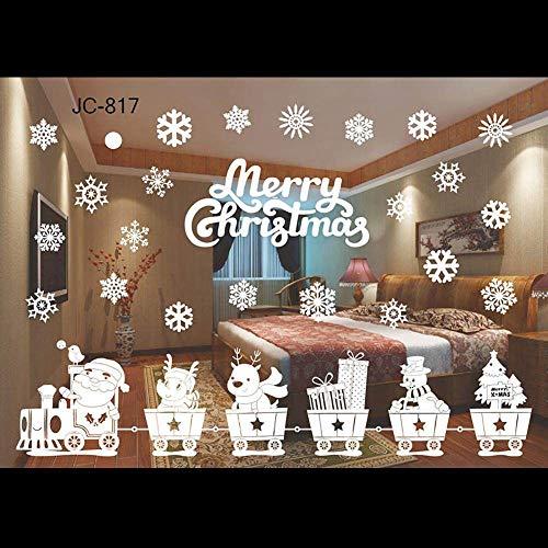 Świąteczne naklejki na okna, płatki śniegu Święty Mikołaj naklejki na szybę klej elektrostatyczny pinup obraz Boże Narodzenie ściana przylegająca kalkomania statyczne PCW usuwalne naklejki dla dzieci dom sklep impreza okno drzwi wysyłka