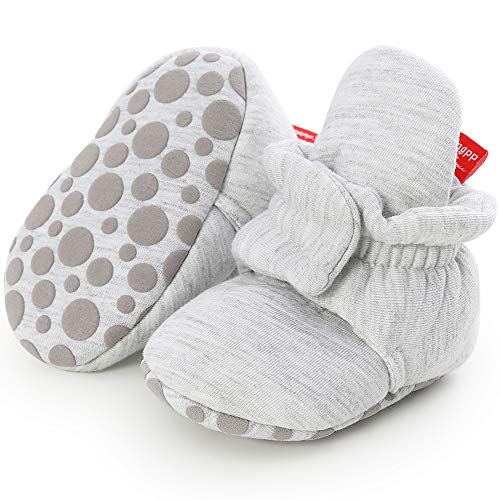 Zutano Cozie Fleece Baby Booties, Unisex Baby Shoes for Infants and Toddlers, 3M, Heather Gray