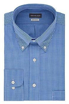 Van Heusen Men s Regular Fit Gingham Button Down Collar Dress Shirt Periwinkle XX-Large