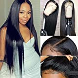 Maxine Hair 10A Virgin Hair Lace Front Wig Brazilian Remy Human Hair Straight Hair Wigs For Black Women 150% Density with Adjustable Straps Naturl Color 18 inch