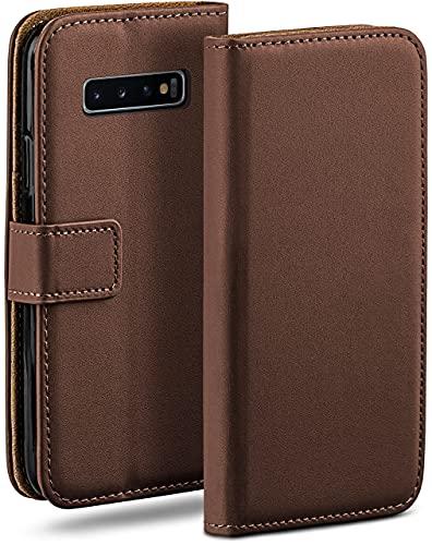 moex Klapphülle für Samsung Galaxy S10 Hülle klappbar, Handyhülle mit Kartenfach, 360 Grad Schutzhülle zum klappen, Flip Hülle Book Cover, Vegan Leder Handytasche, Dunkelbraun