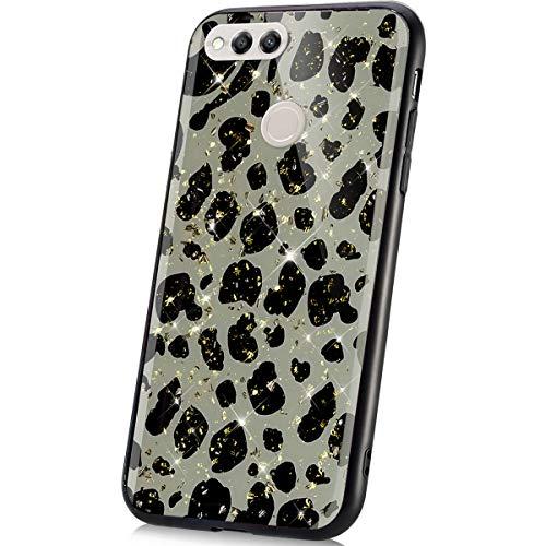 JAWSEU Compatible avec Huawei Honor 7X Coque Silicone Gel TPU Glitter Paillette Brillante Luxe Mode Motif Housse de Protection Slim Souple Rigide Hybrid Coque Antichoc Bumper Case,Léopard#