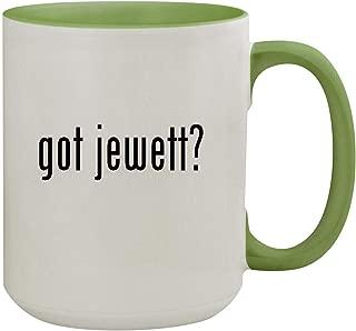 got jewett? - 15oz Ceramic Inner & Handle Colored Coffee Mug, Light Green