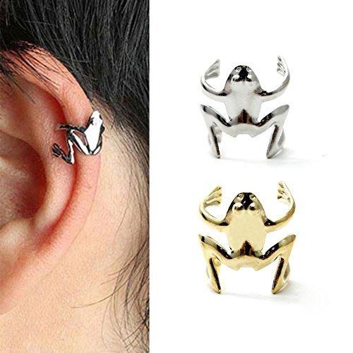 Arpoador, 1 orecchino avvolgente senza necessità di foro, in lega, a forma di rana, modello unisex, alla moda, di colore argento