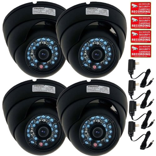 VideoSecu 4 of Color CCD Outdoor CCTV Dome Security Cameras Wide Angle Infrared Day Night Vision Vandal Proof 20 IR LEDs Home Surveillance with Free Power Supplies and Security Warning Decals MD7