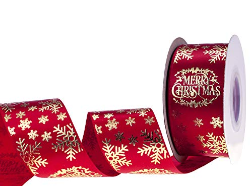ATRBB 20 Yards 1-1/2 Inches High-end Gold Silver Foil Snowflake Printed Christmas Ribbon for Gift Wrapping and Holiday Decorations (Red-Gold Snowflake)