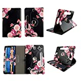 Pink Flower Black Tablet case 8 inch for Dell Venue Pro 8' 8inch Android Tablet Cases 360 Rotating Slim Folio Stand Protector pu Leather Cover Travel e-Reader Cash Slots