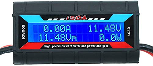 RGBZONE 150 Amps Power Analyzer, High Precision RC with Digital LCD Screen for RC, Battery, Solar, Wind Power