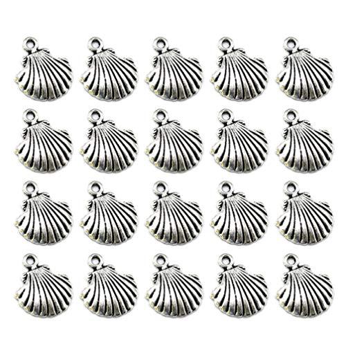 Healifty - Colgantes de aleación de Plata tibetana con Conchas Marinas, de Metal, con temática de Playa, para Joyas, Bricolaje, Verano, creación Artesanal, 50 Unidades (Plata Antigua)