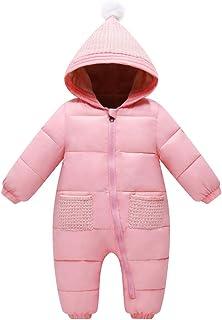 BéBé Grenouillères Garçon Fille Barboteuse à Capuche Hiver Combinaison de Neige Épaissir Body Pyjama Manches Longues, 0-3 ...
