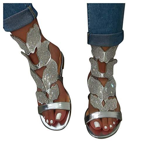 Dasongff Sandalias elegantes para mujer, sandalias de noche, sandalias de playa, brillantes, mariposas, informales, planas, zapatos de verano para mujer, sandalias abiertas, sandalias romanas.