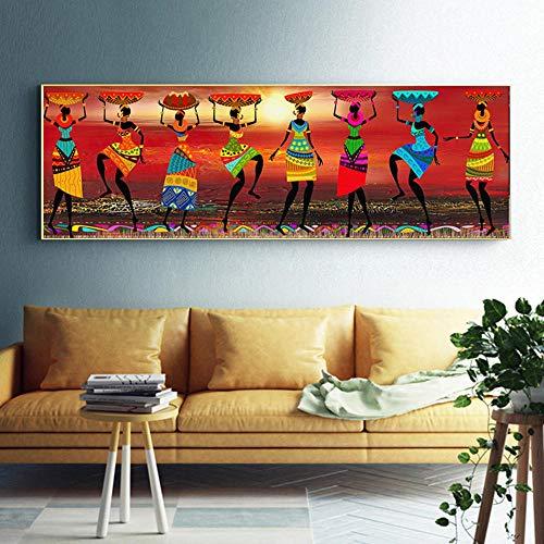 FANGYUAN Kunst Gemälde Afrikanische Frauen Tanzen Malerei, Bild Für Wohnzimmer Leinwand Home Decor 50X150 cm Kein Rahmen