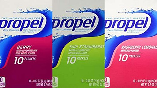 Propel Zero Powder Packets Variety Bundle - 60 Packets - 6 Boxes Total (2 Boxes Each of Raspberry Lemonade, Kiwi Strawberry, and Berry)