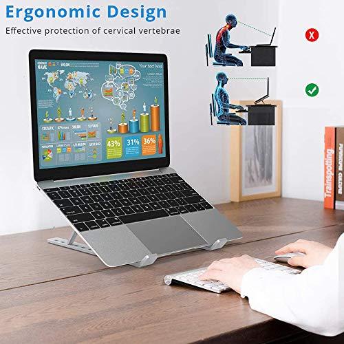 EasyULT Laptop Ständer, Multi-Winkel Verstellbar Klappbar Stand, Ergonomisch Notebook Ständer, Verstellbarer Notebook Ständer Kompatibel für Laptops unter 15,6 Zoll, Höhenverstellbar(Silber)