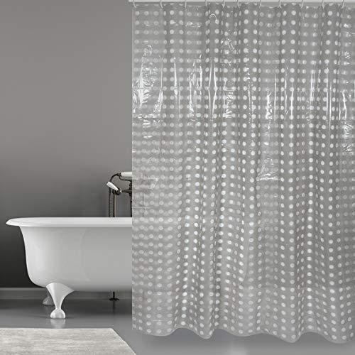 MSV Anti-Schimmel Duschvorhang Grau Anti-Bakteriell, waschbar, wasserdicht PVC 180x200cm