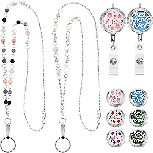 2 Pieces Retractable Badge Reel Lanyard with Aromatherapy Essential Oils Diffuser Lanyard Stainless Steel Beaded Chain Badge Holder Necklace for Mothers Day Present Classic Style
