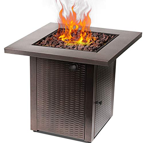 Hykolity 28 inch Gas Fire Pit Table,Square Fire Table with Waterproof Cover,Lava Rock,50,000 BTU adjustable flame Auto-Ignition Fire Bowl Outdoor Companion Fireplace for Balcony/Garden/Patio/Courtyard