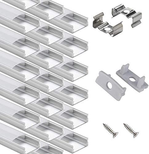 20 x 1 m LED Riel de aluminio, perfil de aluminio, 20 unidades, perfil en U con tapa, tapas y clips de montaje para tiras de luces LED.